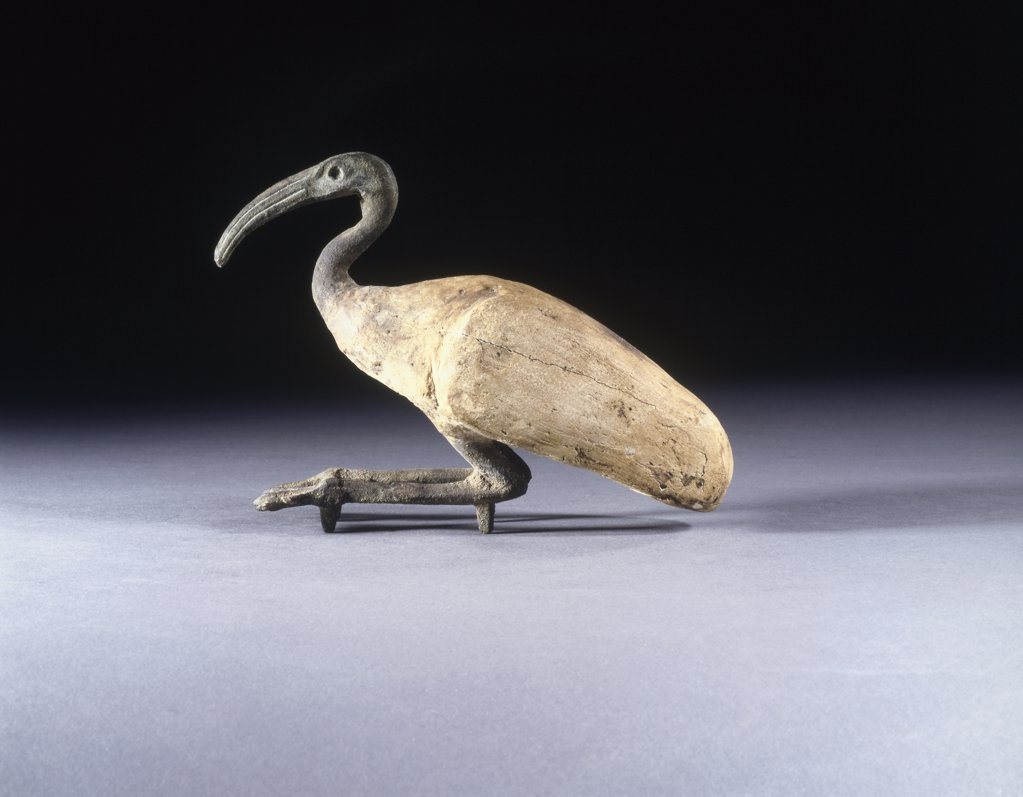 Gesso-Painted Wooden And Bronze Ibis, A C. 6000-3000 Bc