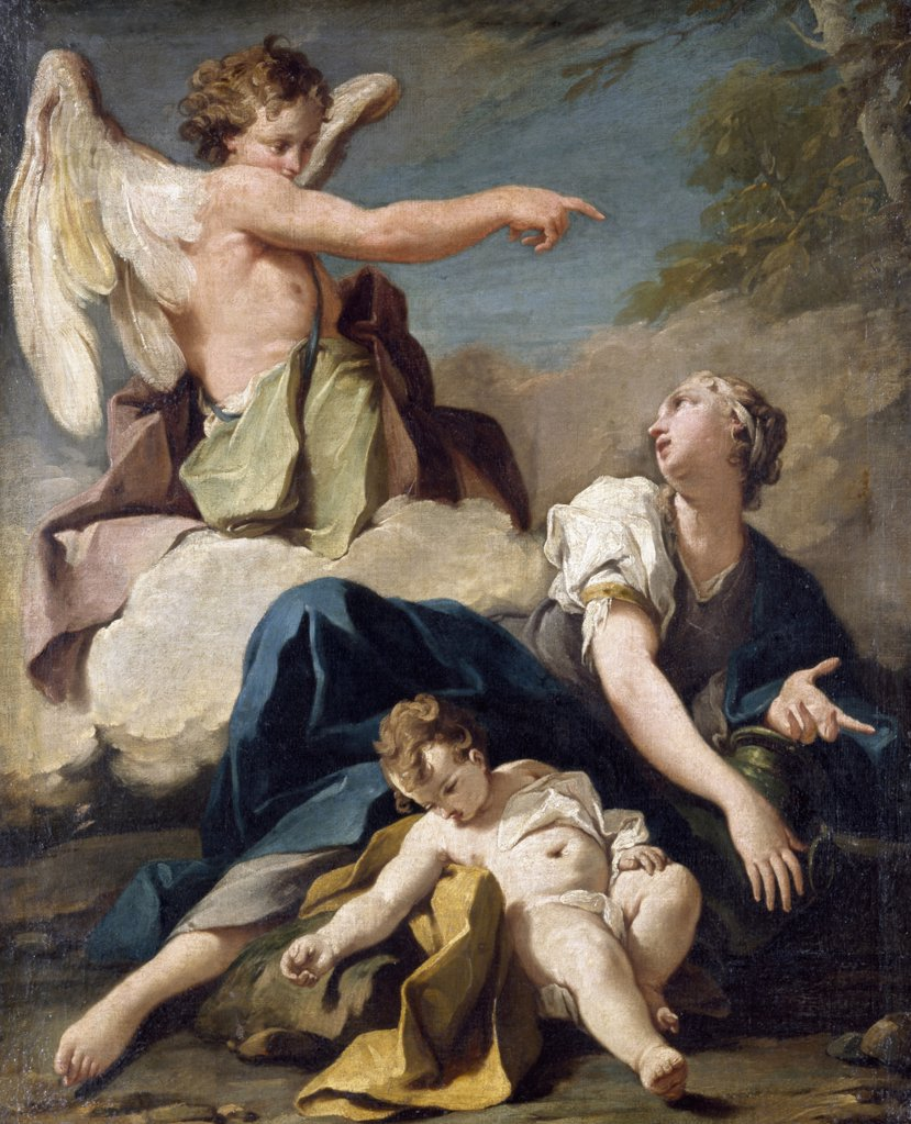 Stock Photo: 866-5131 The Angel Appearing To Hagar And Ishmael In The Desert Pittoni, Giovanni Battista (1687-1776) Oil On Canvas Christie's Images, London, England