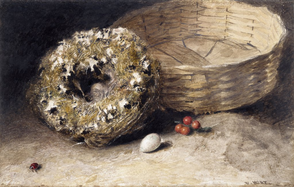Stock Photo: 866-5172 Still-Life With Basket, Nest, Egg, Red Currants And Ladybird
