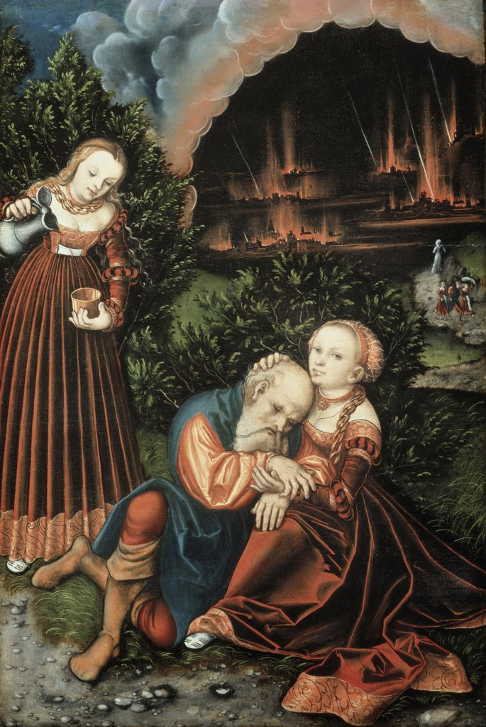 Lot And His Daughters Lucas Cranach the Elder (1472-1553 German) Oil On Panel Christie's Images, London, England : Stock Photo