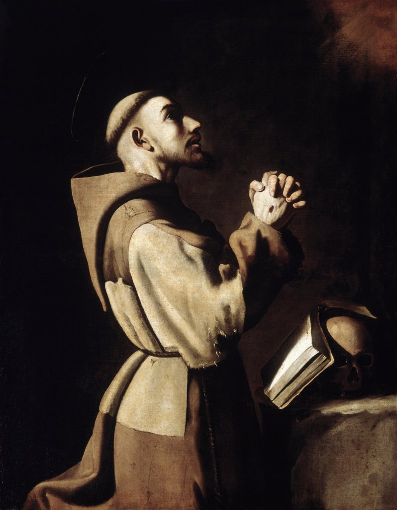 Stock Photo: 866-5247 Saint Francis Of Assisi In Prayer 
