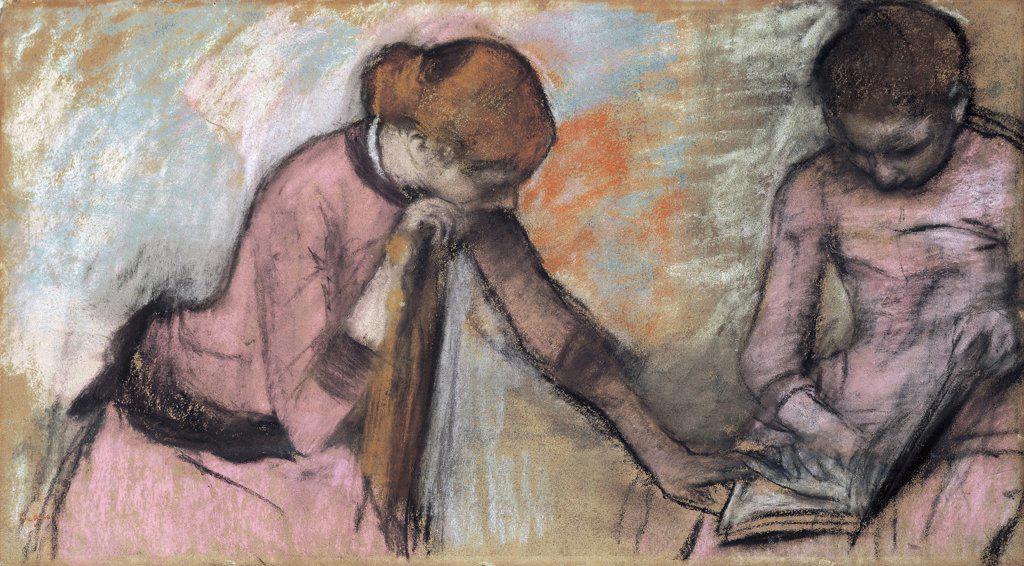 Stock Photo: 866-5361 Jeunes Filles Regardant un Album 1884 Edgar Degas (1834-1917 French) Pastel on paper