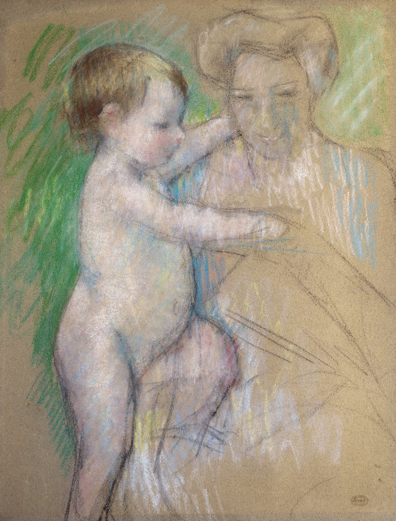 Stock Photo: 866-5366 Nude Baby Beside her Mother c.1902 Mary Cassatt (1845-1926 American) Pastel and charcoal