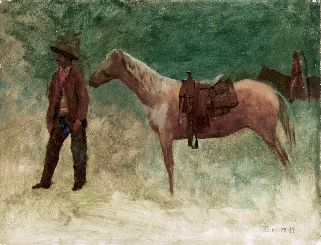 Stock Photo: 866-5376 Standing Cowboy with Horse Albert Bierstadt (1830-1902 American) Oil on paper board