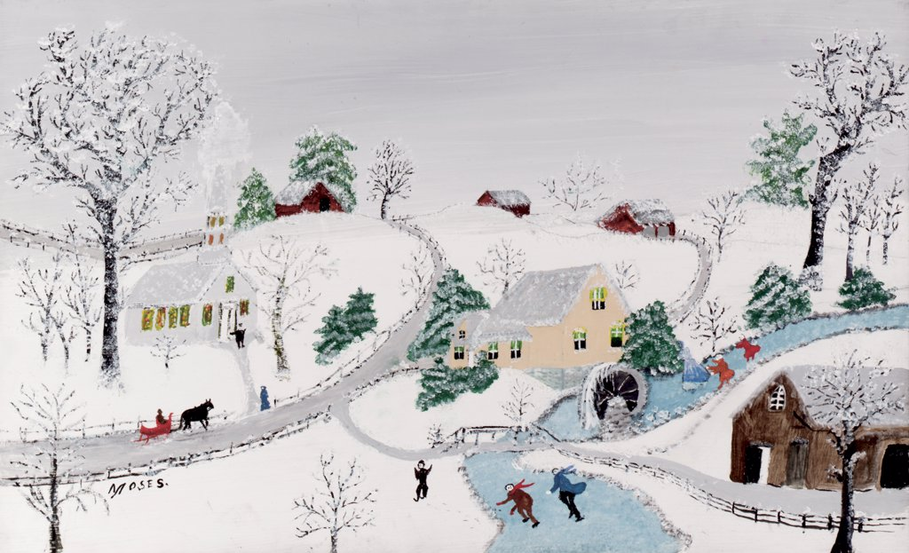 Stock Photo: 866-5378 Winter September 20, 1956 Grandma Moses (1860-1961 American) Oil on board