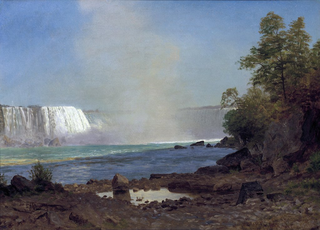 Niagara Falls Albert Bierstadt (1830-1902 American) Oil on paper canvas : Stock Photo
