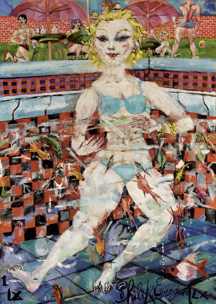 Stock Photo: 866-5389 Cool Doll in the Pool 1959 Philip Evergood (1901-1973 American) Oil on canvas