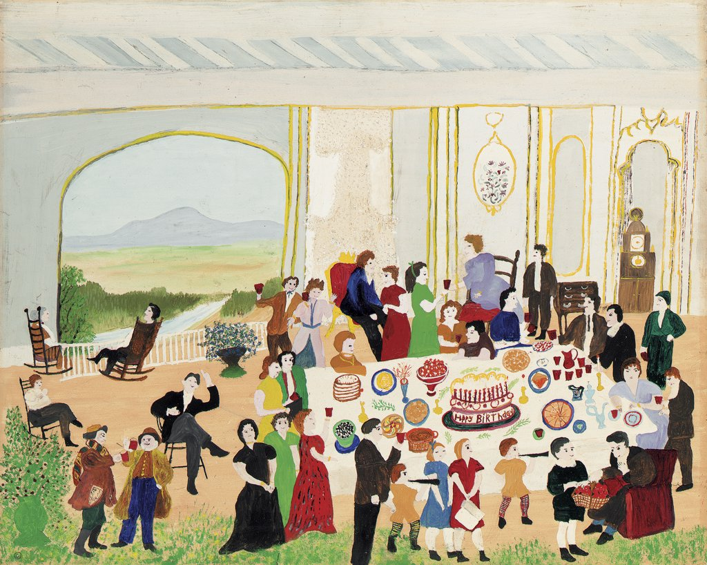 Stock Photo: 866-5402 Birthday Cake February 2, 1953 Grandma Moses (1860-1961 American) Oil,tempera on wood