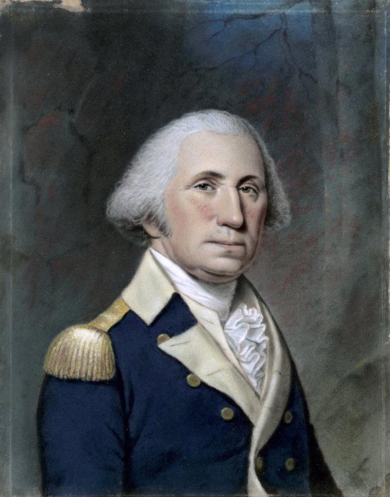 Stock Photo: 866-5413 Portrait of George Washington ca. 1800 Ellen Sharples (1769-1849 British) Pastel on paper