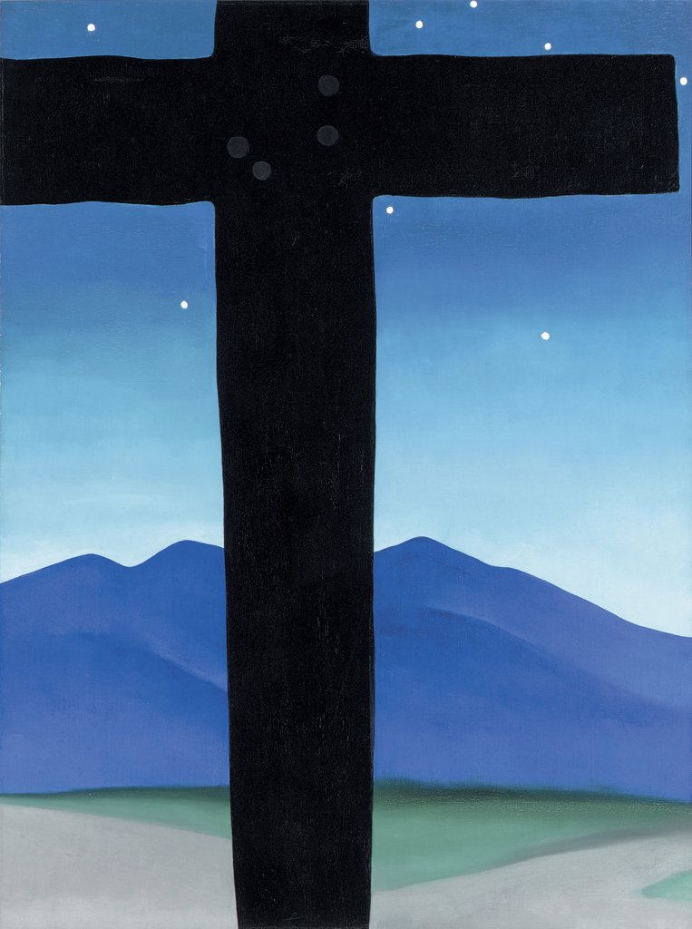 Black Cross With Stars And Blue Georgia O`Keeffe (1887-1986 American) Oil on canvas : Stock Photo