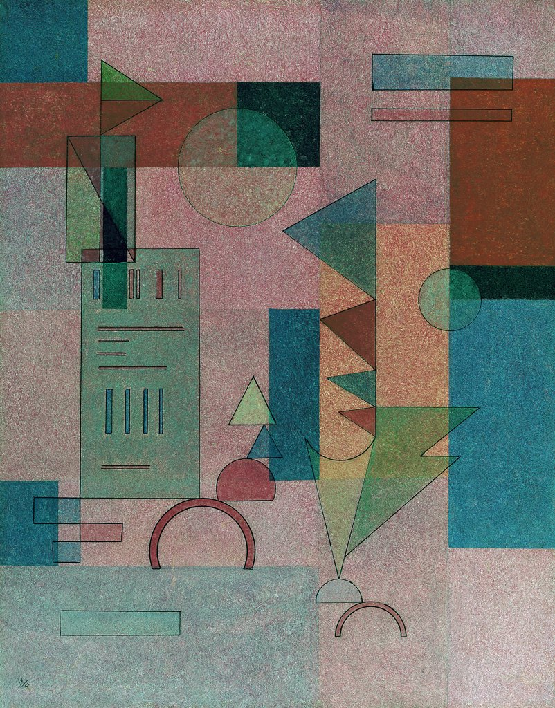 Schichten February 1932 Vasily Kandinsky (1866-1944 Russian) Oil on panel : Stock Photo
