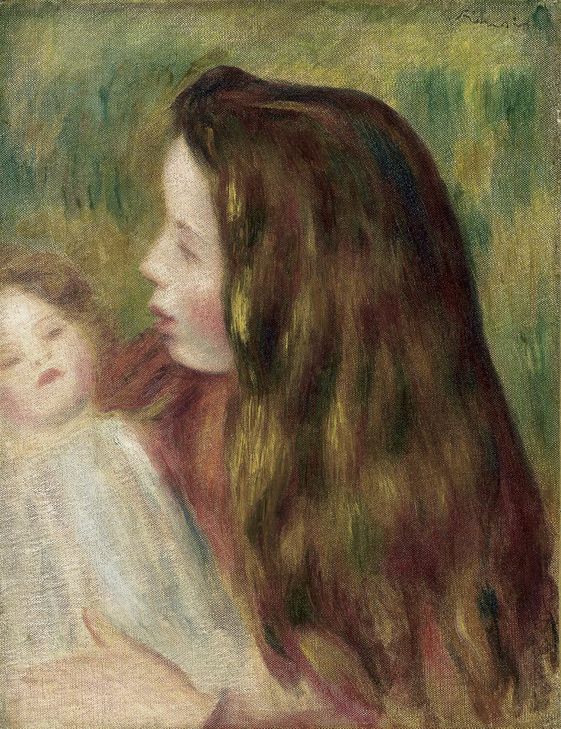 Filette A La Poupee ca. 1897 Pierre Auguste Renoir (1841-1919 French) Oil on canvas : Stock Photo