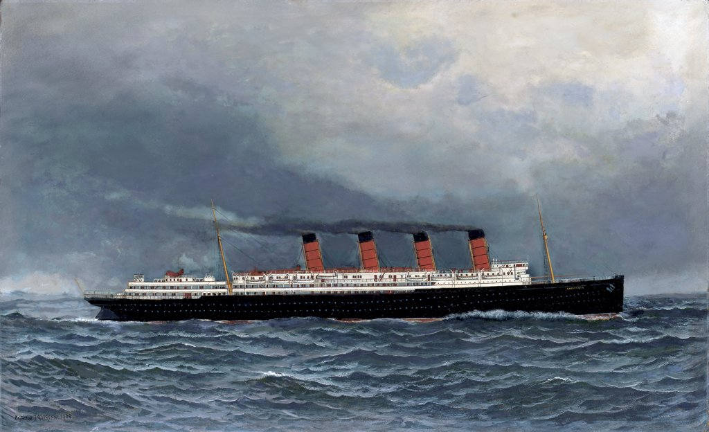 Stock Photo: 866-5474 The R.M.S. Lusitania Under Full Steam 1908 Antonio Jacobsen (1849-1921 American) Oil on board