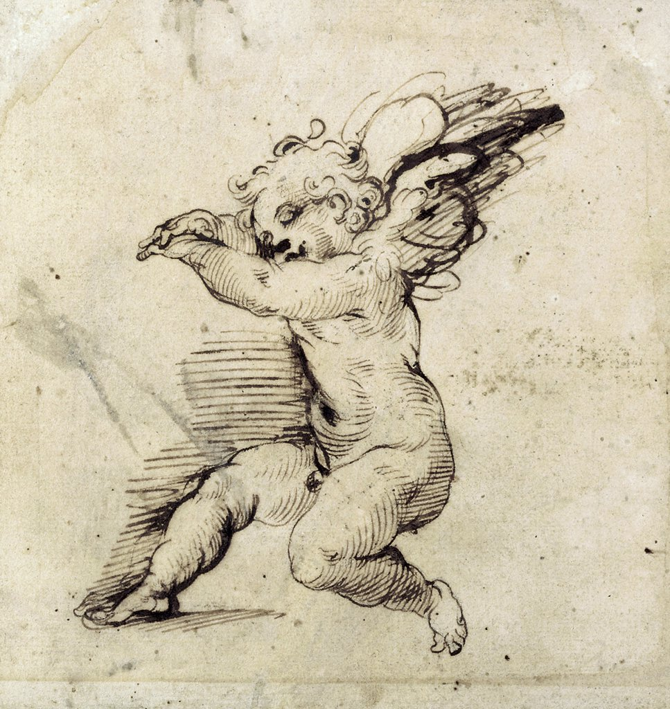 A Seated Putto, Turned to the Left Agostino Carracci (1557-1602 Italian) Chalk & ink : Stock Photo