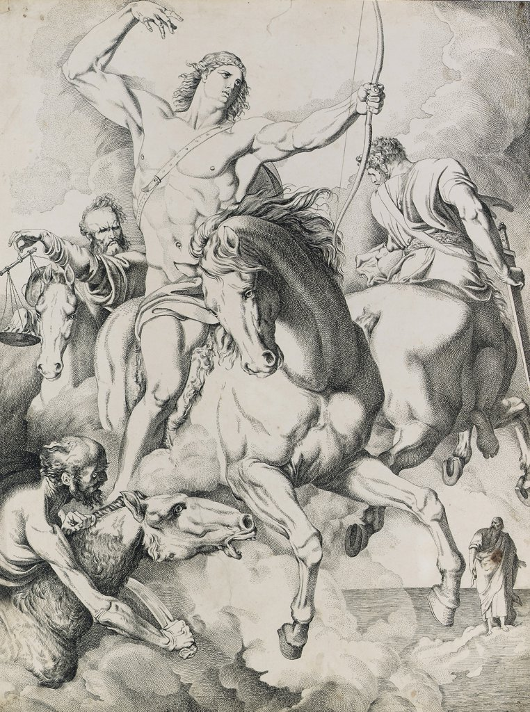 Stock Photo: 866-5492 The Four Horsemen of the Apocolypse (Revelation 6:1-8) Luigi I Sabatelli (1772-1850 Italian) Chalk & ink