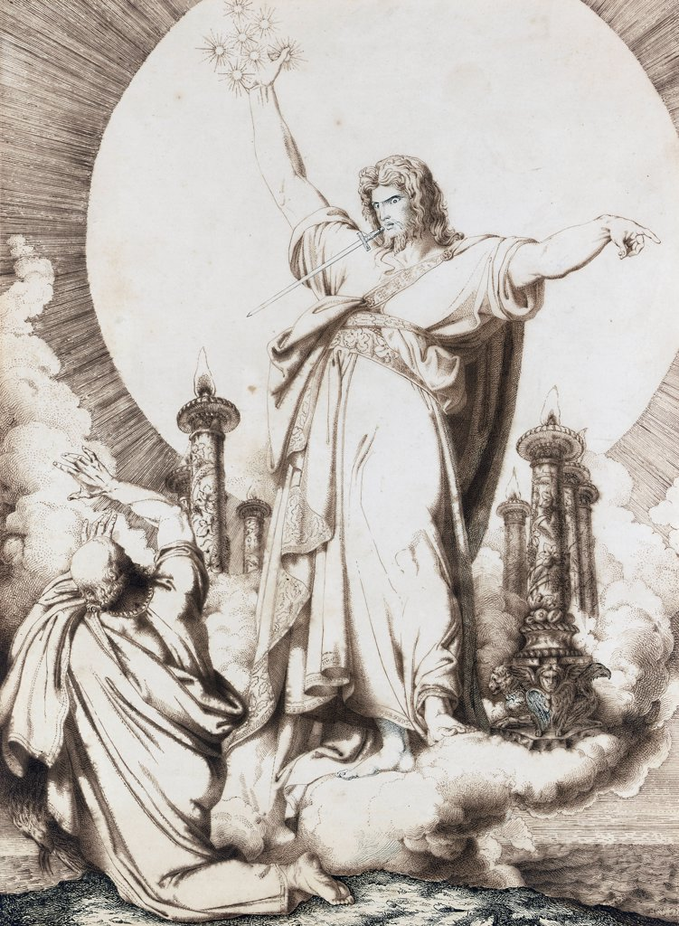 Stock Photo: 866-5493 Christ With A Sword Emerging From His Mouth (Revelation 1:10-16) Luigi I Sabatelli (1772-1850 Italian) Chalk & ink