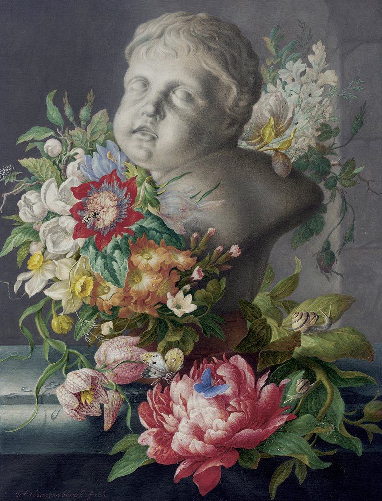 Stock Photo: 866-5495 Still Life with Putto and Flowers on a Ledge Herman Henstenburgh (1667-1726 Dutch) Watercol & bodycolor
