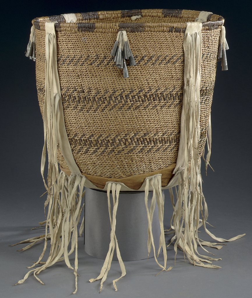 Stock Photo: 866-5511 A Western Apache Twined Burden Basket Native American Art
