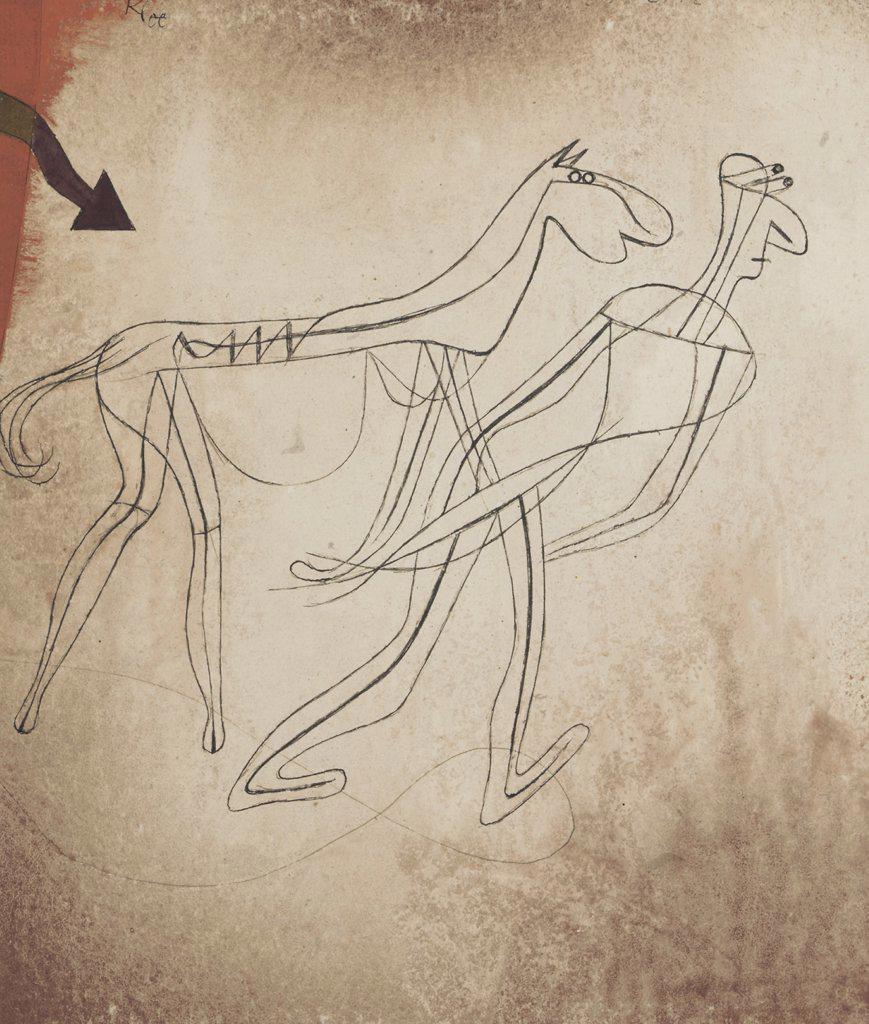 Stock Photo: 866-5613 Pferd und Mann Paul Klee (1879-1940 Swiss) Watercolor,gouache, pen on paper