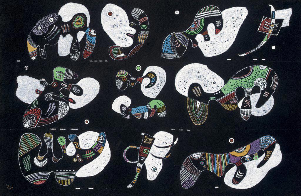 Stock Photo: 866-5647 Komposition Mit Weissen Formen Vasily Kandinsky (1866-1944 Russian) Gouache on black paper