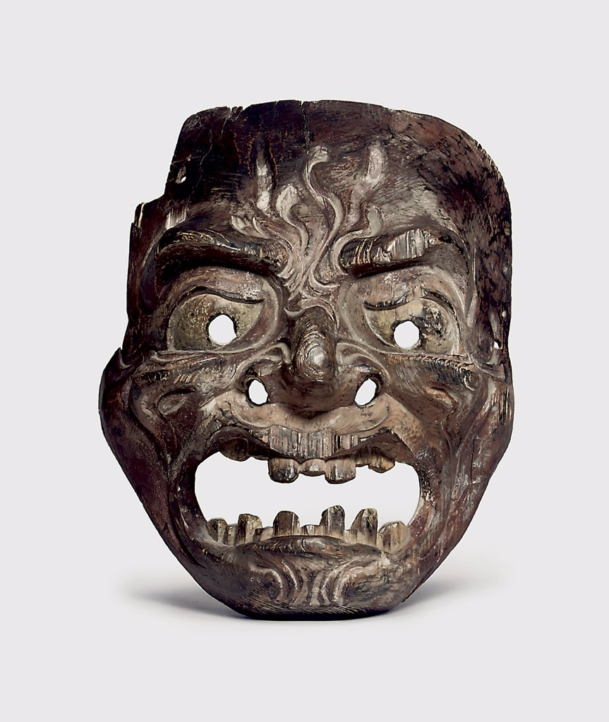 Stock Photo: 866-5680 Wood Gigaku Mask, Kamakura Period (13th - 14th Century) Japanese Art Wood