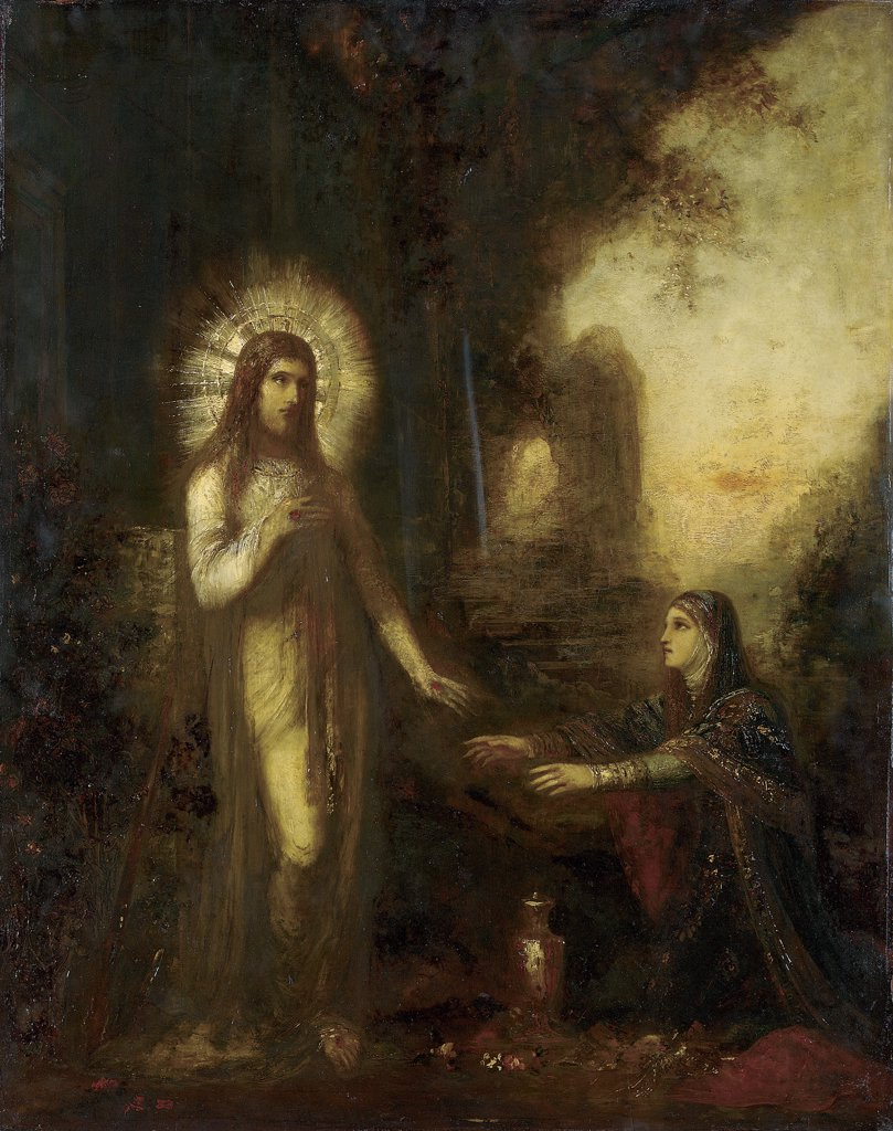 Stock Photo: 866-5701 Christ and Mary Magdalene (Noli Me Tangere) Gustave Moreau (1826-1898 French) Oil on panel