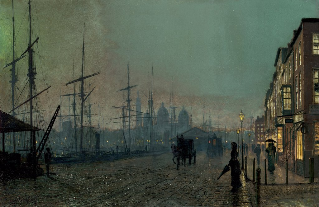 Stock Photo: 866-5723 Humber Dockside, Hull John Atkinson Grimshaw (1836-1893 British) Oil on canvas