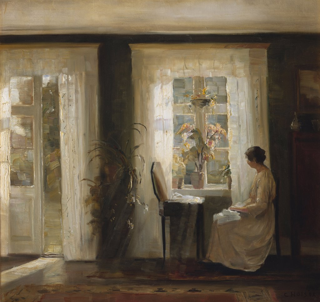 A Woman At A Sunny Window, Carl Holsoe (1863-1935), Oil On Canvas, 19th-20th Century : Stock Photo