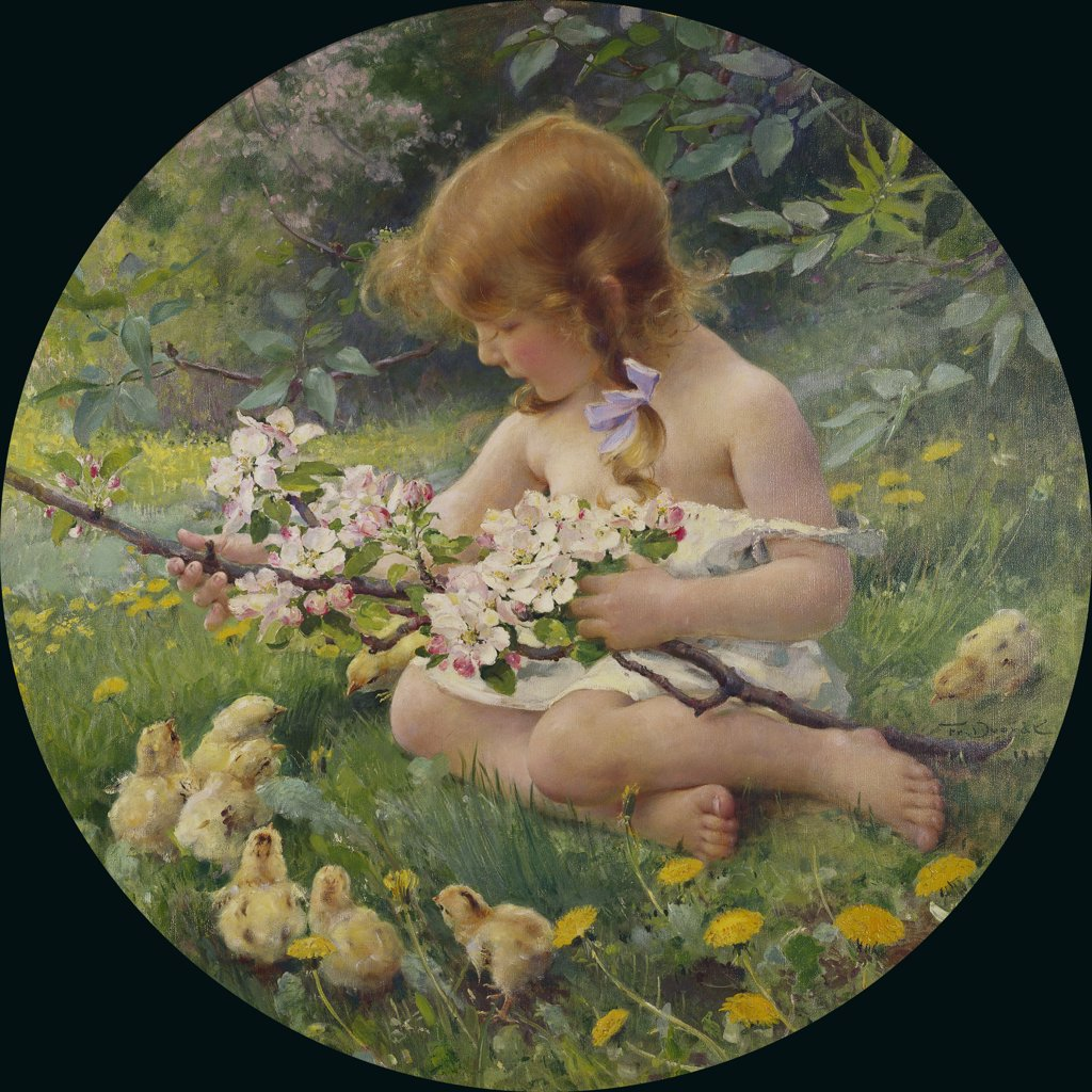 Stock Photo: 866-5747 Spring, Franz Dvorak (1862-1927), Oil On Canvas, Circular, 1917