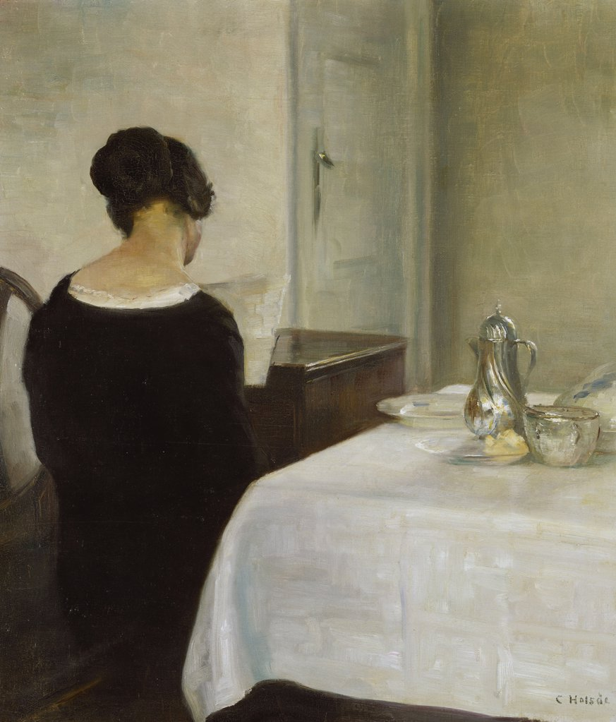 Stock Photo: 866-5753 The Letter, Carl Holsoe (1863-1935), Oil On Canvas