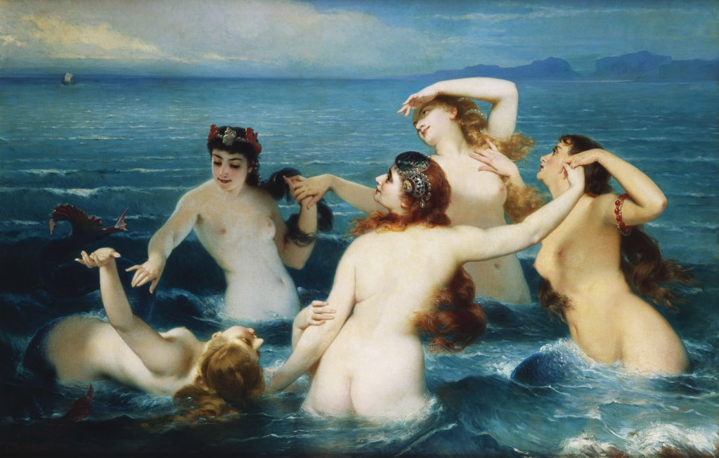 Stock Photo: 866-5773 Sirens, Syrenes, Charles Edouard Boutibonne (1816-1897), Oil On Canvas