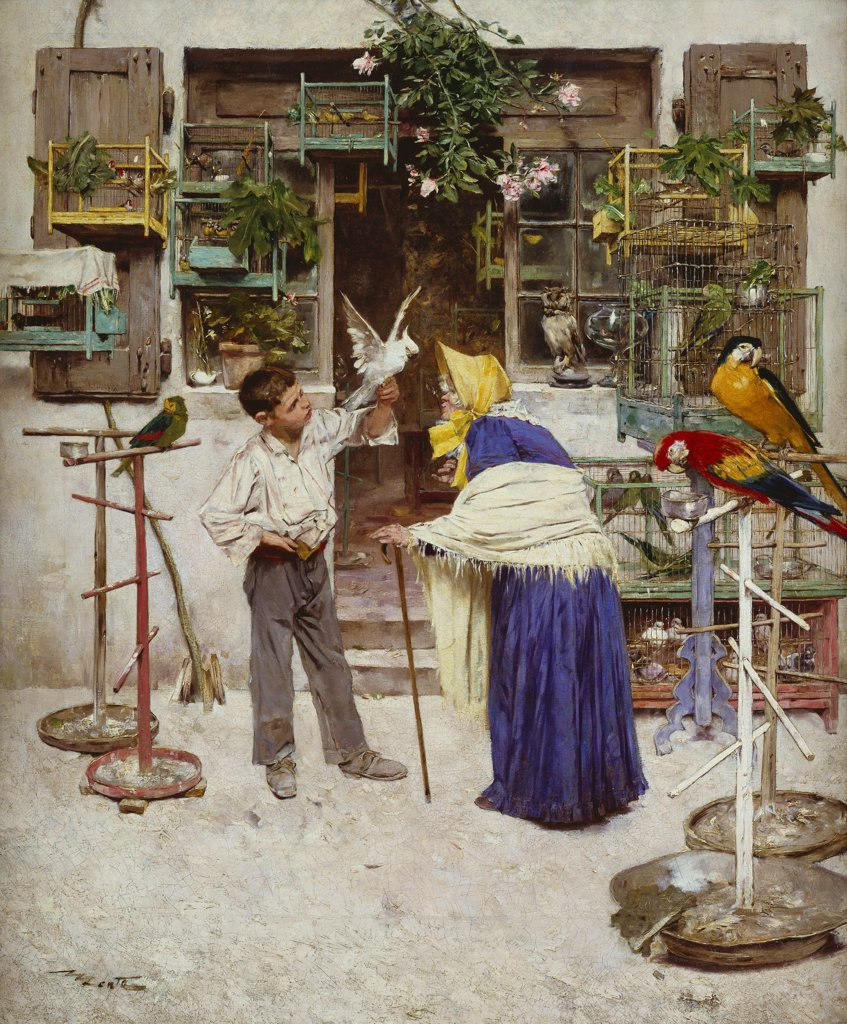 Stock Photo: 866-5778 The Bird Seller, Edouard Menta (1858-1915), Oil On Canvas