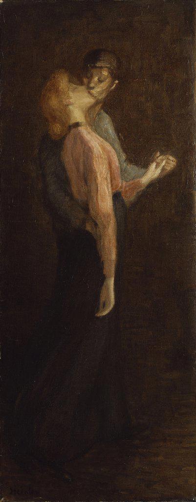 The Kiss. Der Kuss. Theophile Alexandre Steinlen (1859-1923). Oil On Canvas : Stock Photo