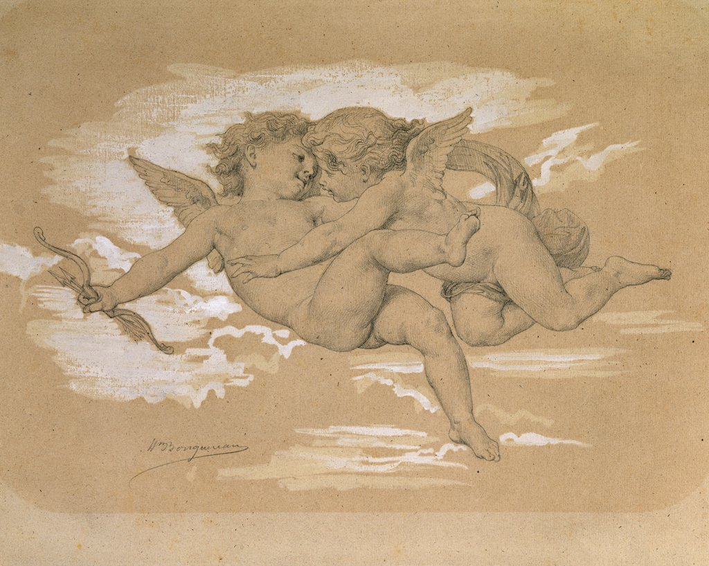 A Putto Trying To Steal Cupid's Arrows. William Adolphe Bouguereau (1825-1905). Pencil And Bodycolour On Paper, 19th Century. : Stock Photo