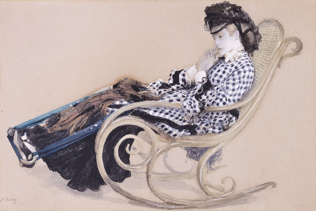 Study For The Last Evening. James Jacques Joseph Tissot (1836-1902).  Pencil, Watercolour And Bodycolour, On Buff Paper. : Stock Photo