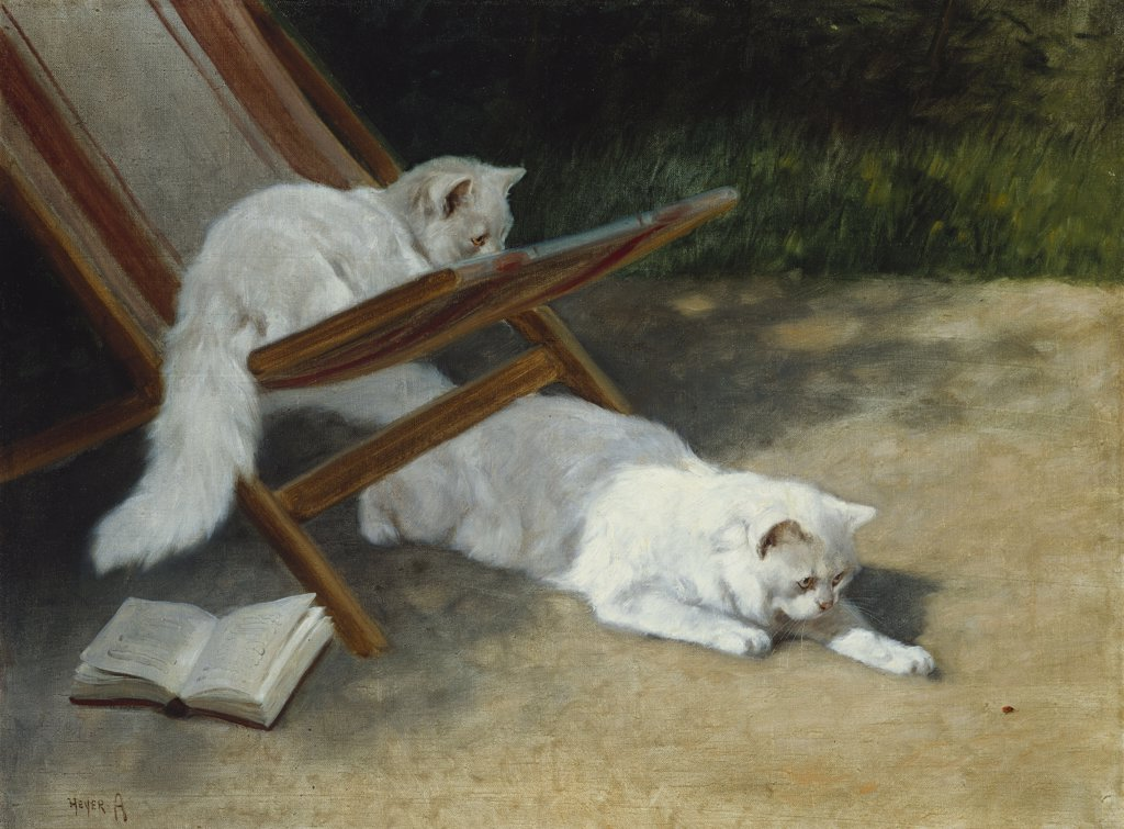 Stock Photo: 866-5812 Two White Persian Cats With A Ladybird By A Deckchair.  Arthur Heyer (1872-1931) Oil On Canvas, 19th Century.
