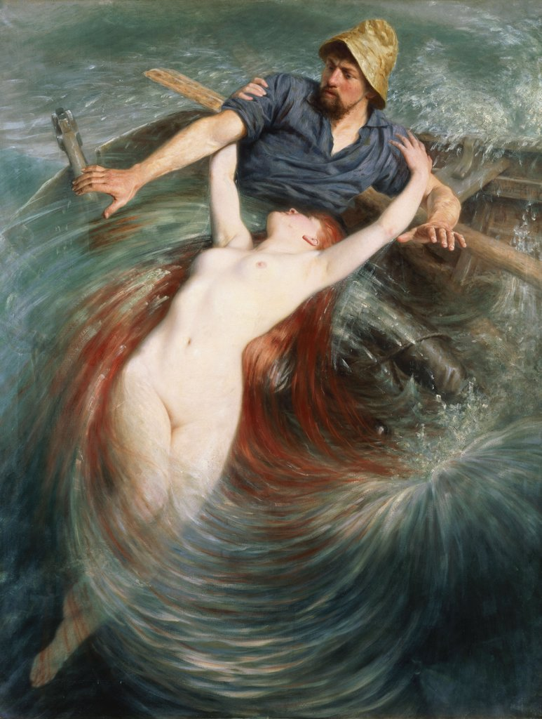 Stock Photo: 866-5816 A Fisherman Engulfed By A Siren. Knut Ekwall (1843-1912). Oil On Canvas