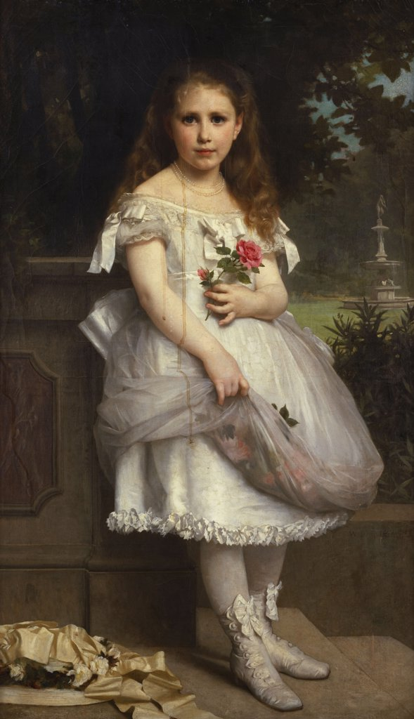 Stock Photo: 866-5820 Portrait Of Anna Mounteney Jephson, Full Length, Wearing A White Dress On An Terrace. William Adolphe Bouguereau (1825-1905). Oil On Canvas, Signed And Dated 1874