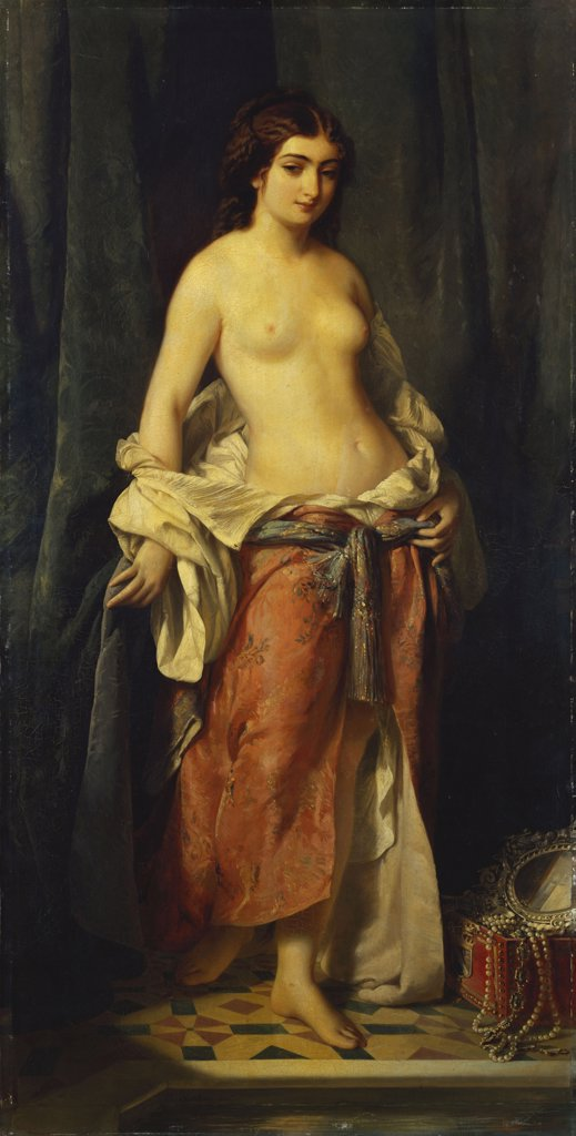 The Undressing. La Deshabillee. Charles Edouard Boutibonne (1816-1897). Oil On Canvas, Dated 1852 : Stock Photo