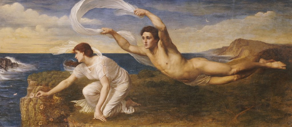 Stock Photo: 866-5840 Boreas And Orithyia. Oswald Von Glehn (B. 1858). Oil On Canvas