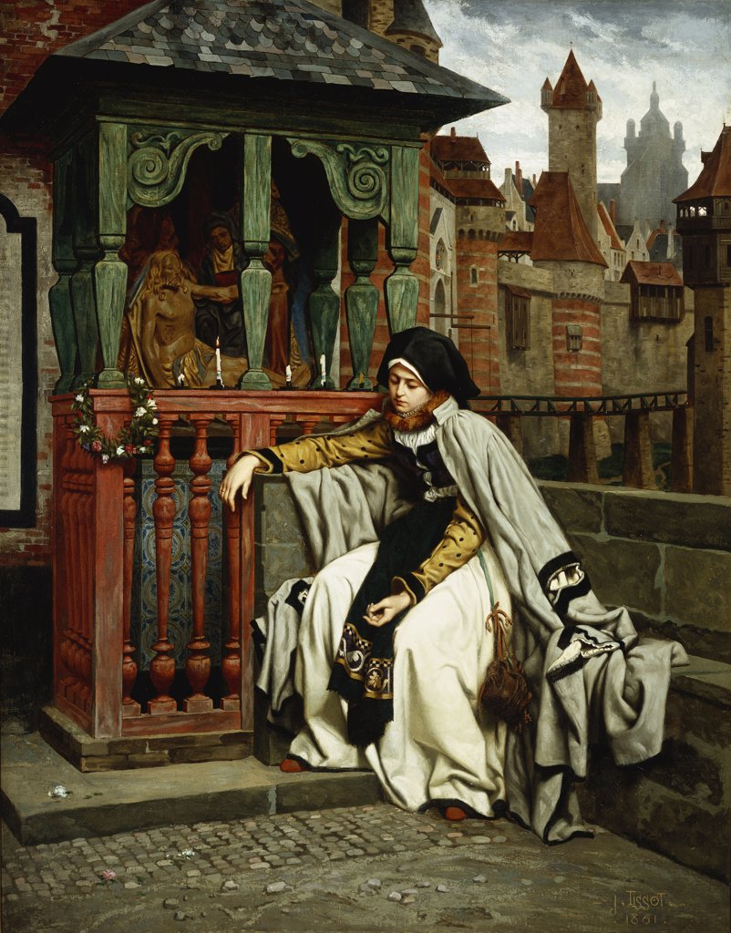 Stock Photo: 866-5841 Marguerite At The Ramparts; Marguerite Au Rempart. Jean-Jacques Tissot (1836-1902). Oil On Canvas, 1861.