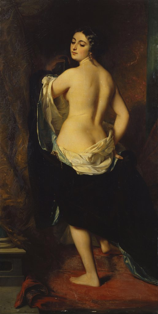 Stock Photo: 866-5842 The Undressing. La Deshabillee. Charles Edouard Boutibonne (1816-1897). Oil On Canvas, Dated 1852