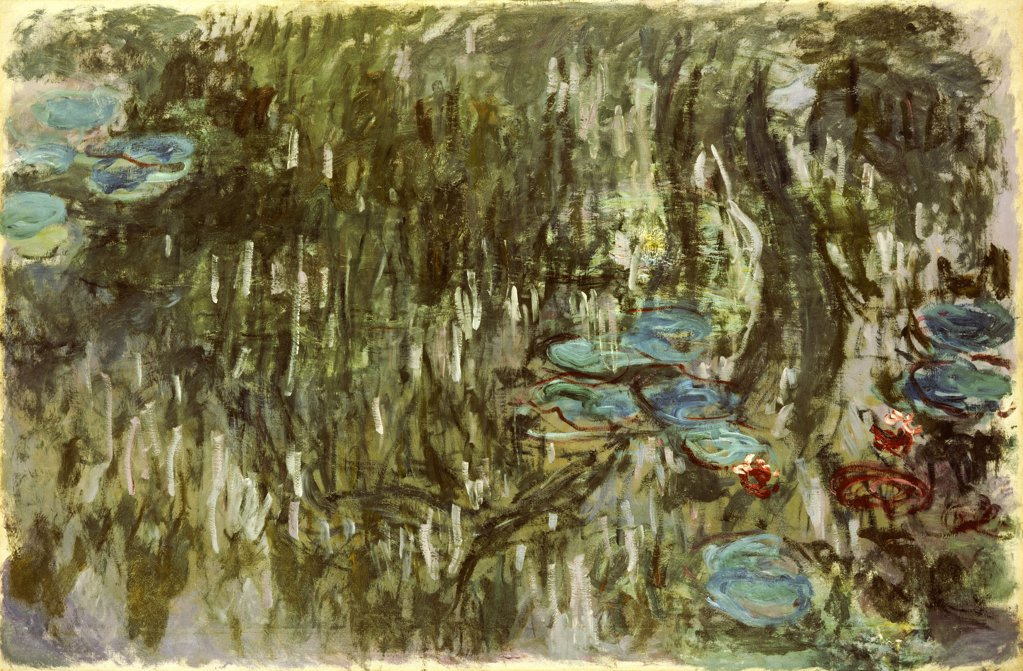 Stock Photo: 866-5875 Water Lilies, Reflected Willow. Nympheas, Reflets De Saule.  Claude Monet (1840-1926). Oil On Canvas, Circa 1920.