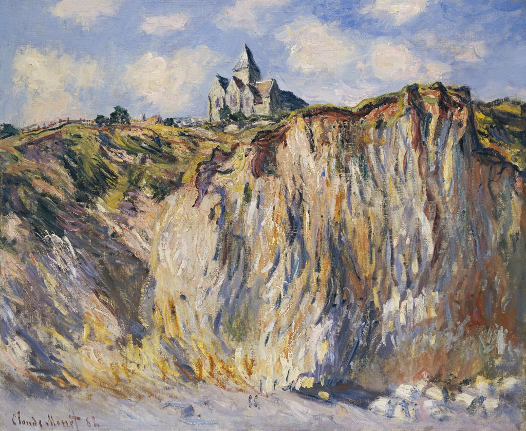Stock Photo: 866-5917 Church Of Varengeville, In The Morning.  Eglise De Varengeville, Effet Du Matin. Claude Monet (1840-1926).  Oil On Canvas, 1882.