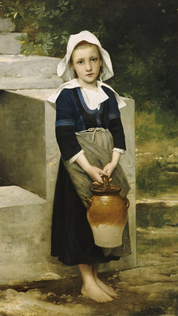 La Fille D'Eau.  William Adolphe Bouguereau (1825-1905).  Oil On Canvas. : Stock Photo