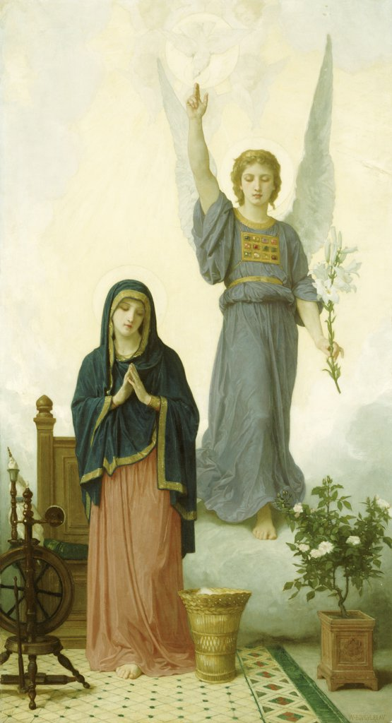 The Annunciation.  William Adolphe Bouguereau (1825-1905).  Oil On Canvas. : Stock Photo