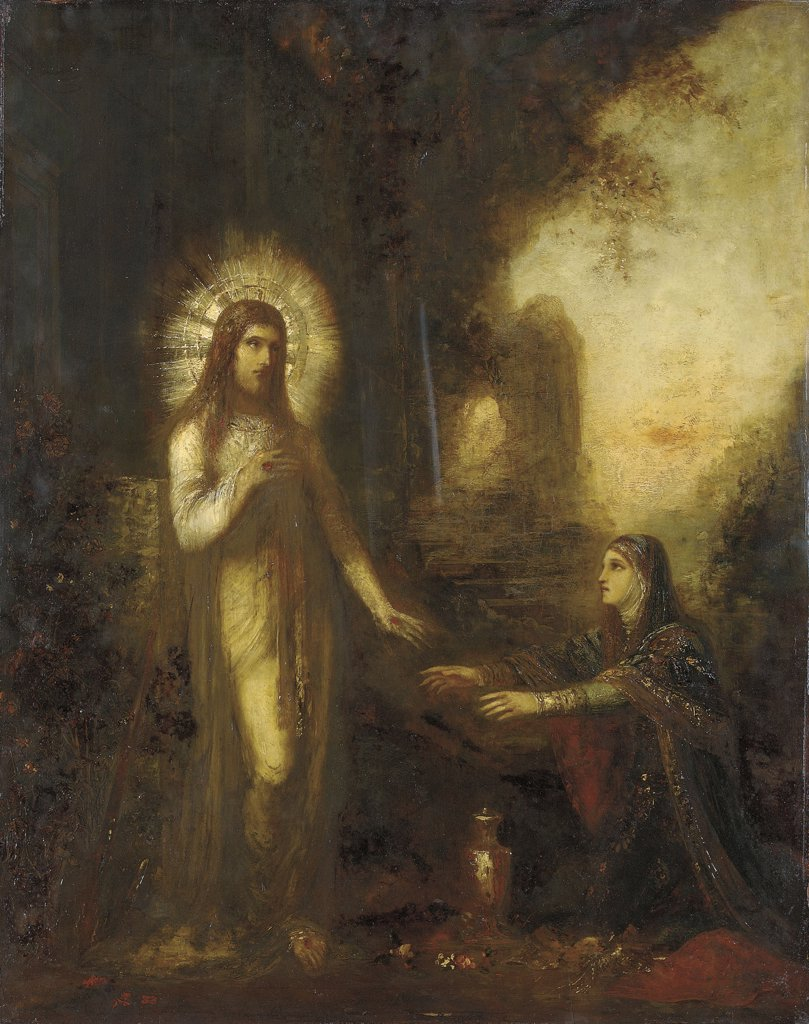 Stock Photo: 866-5966 Christ And Mary Magdalene (Noli Me Tangere).  Gustave Moreau (1826-1898).   Oil On Panel  32 X 25 3/8 In. (81.2 X 64.4 Cm.)  Painted Circa 1889