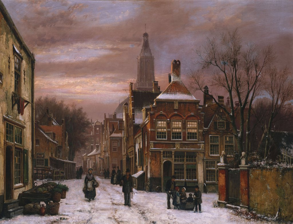 Stock Photo: 866-5970 A Wintery Scene: A Dutch Street With Numerous Figures.  Willem Koekkoek (1839-1895). Catalogue No. 1669c.