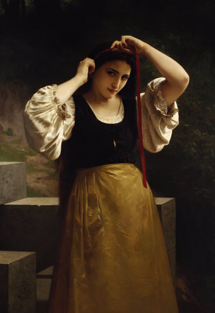 Stock Photo: 866-5976 The Red Ribbon. William Adolphe Bouguereau (1825-1905). Oil On Canvas, 1869.