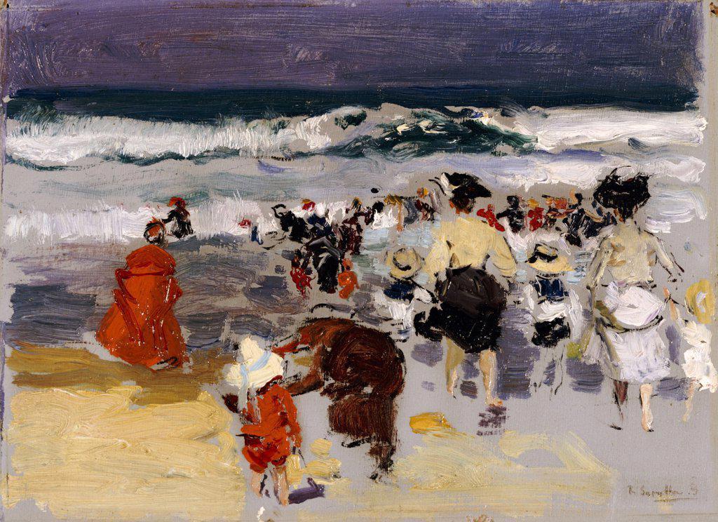 Stock Photo: 866-5993 Playa De Biarritz.  Joaquin Sorolla Y Bastida (1863-1932).  Oil On Board, 1906.